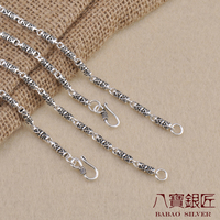 Eight silversmith S925 Sterling Silver Necklace 3.5MM triangle pattern retro silver chain bamboo wholesale