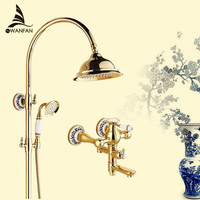 Shower Faucets Luxury Gold Brass Bathroom Shower Faucet Set Rainfall Head Single Ceramic Handle Tub Mixer Shower Tap SE 1688K