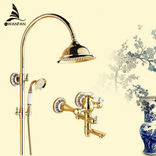 Duscharmaturen Luxus Gold Messing Badezimmer Dusche Wasserhahn Set Regen Kopf Einzigen Keramik Griff Badewanne Mischer Duscharmatur SE-1688K
