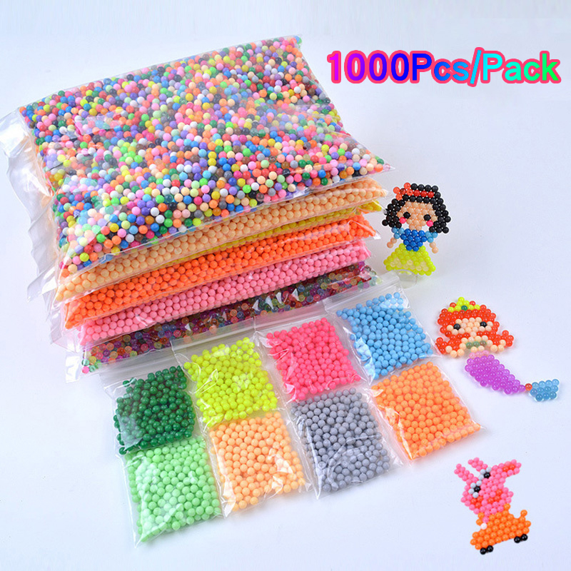 1000Pcs 5mm Water Magic Beads Perlen Water Spray Water 24 Colors Hama Beads Children Kids Educational Toys Puzzles Accessories