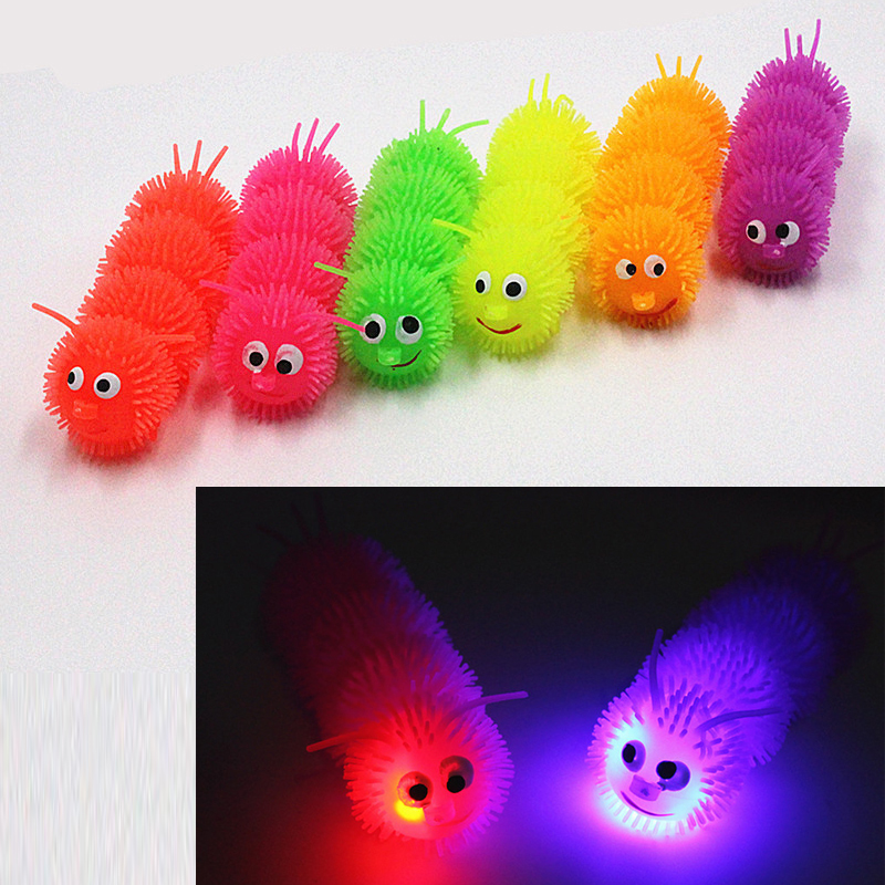 Kids Novelty Colorful Flashing Glowing Light Stuff Caterpillars Toys Morph Ball Squishy Stuff Changeable Color Led Flashing Toys