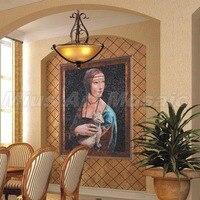 Значок красоты женщина живопись вручную сократить искусство стеклянной мозаики росписи 0.8x1 м пользовательские мозаики C1003