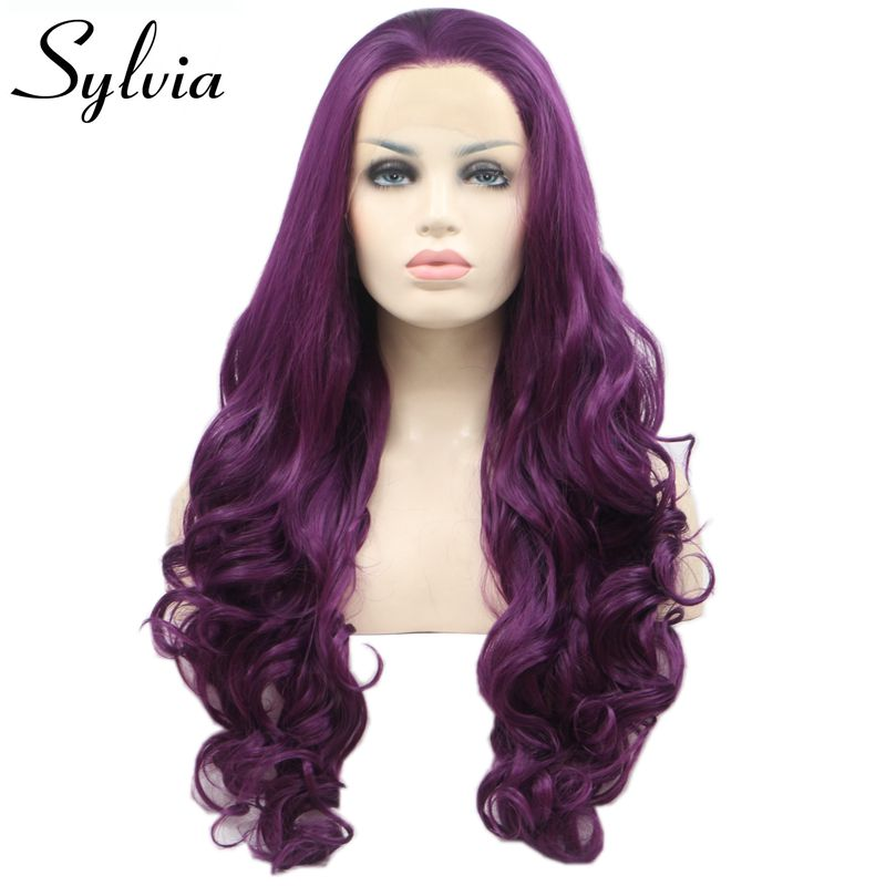 Sylvia Long Body Wave Lace Front Wig Purple Synthetic Hair For Women Glueless Heat Resistant Hair Hand Tied Party Wigs Free Part