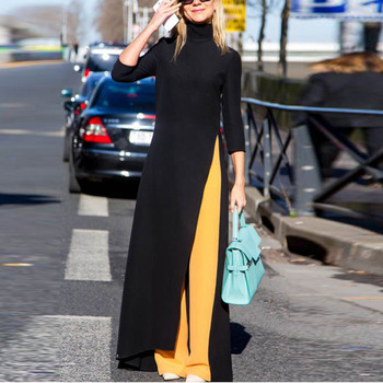 SHENGPALAE 2020 New Spring Fashion Black Turtleneck Three Quarter Sleeve Split Hem Woman Floor-length Dress SC312