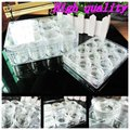 Wholesale Nail Art Powder Clear Color Rhinestone Plastic Box Case With 12pcs Empty Storage Pot High Quality