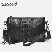Aliwood Fashion Diamond embroidery Women bag Genuine Leather Messenger Bags Rivet Crossbody bags Women Clutches Shoulder Bags