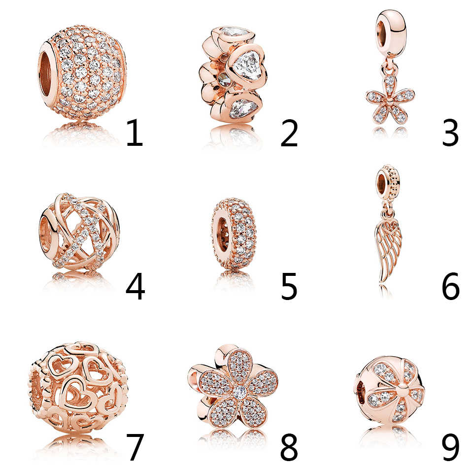 88962a1d9 925 Silver Rose Gold Color Beads Spacer Fit Pandora Bracelet Bangle Dazzling  Daisy Pendant Pave Love