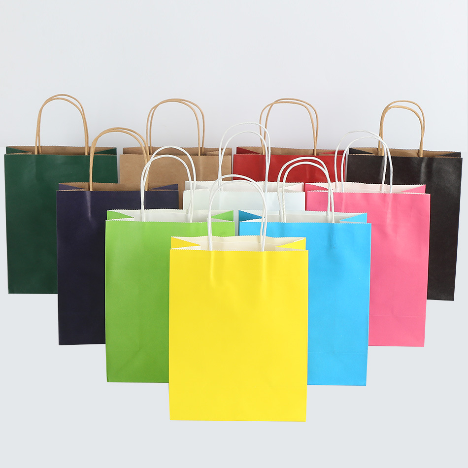 10pcs  21x15x8cm Multi-color Paper Bag With Handles DIY Multifunction Festival Gift Bag Wedding Party Gift Kraft Paper Bags