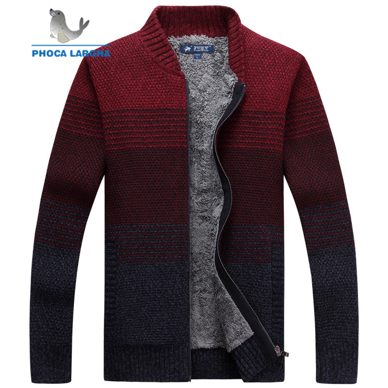 Men's Sweater Jackets Men Cashmere Clothing Warm Thick Velvet  Zipper Cardigan Sweater Men Winter Turtleneck Sweatercoat