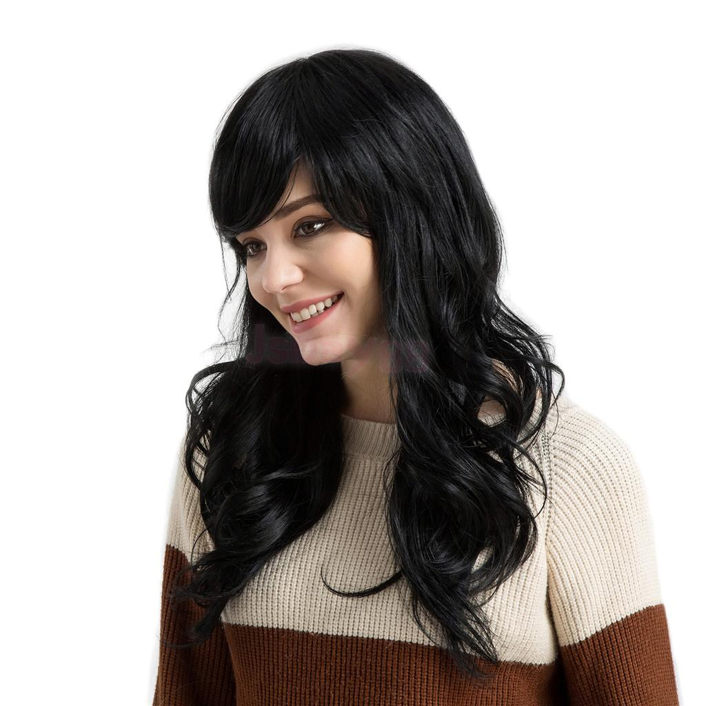24' Natural Curly Long Wave Wigs with Bangs 100% Human Hair with Cap Black бутсы nike mercurial victory iii fg 509128 800