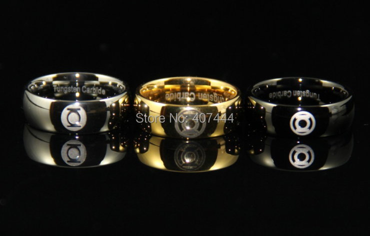 Aliexpress Buy Free Shipping YGK JEWELRY Hot Sales 8MM Black Silver Golden Dome GREEN LANTERN Mens Wedding Tungsten Rings From Reliable Ring