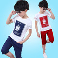 2016 Summer Boys Clothes Cotton Casual Children Clothing Set Cartoon T-Shirt + Pants 2Psc Children Sports Suits Baby Clothes R01