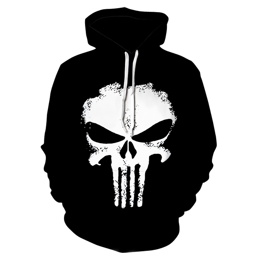 Hot black  3d Skull Hoodies Men Women Fashion Winter Spring Sportswear Hip Hop Tracksuit Brand Hooded Sweatshirt 2018
