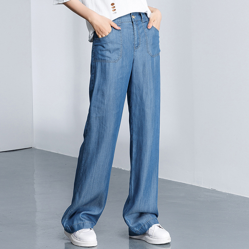 2018 New Womens Casual <font><b>Jeans</b></font> Female Thin Tencel Loose <font><b>Jeans</b></font> For Summer Spring Straight Light <font><b>Blue</b></font> Flat Long Soft <font><b>Jeans</b></font> Plus Size