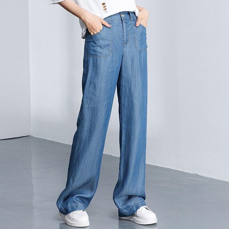 89934a4ff 2018 Nova Womens Casual Calça Jeans Feminina Fina Tencel calças de Brim  Frouxas Para Primavera verão Luz Azul Em Linha Reta Plana Longo Macio Calça  Jeans ...