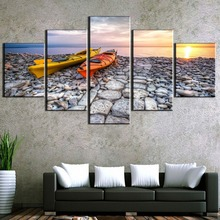 Framed 5 Piece HD Print Painting Kayaking Boat Lake Cuadros Landscape Canvas Wall Art Home Decor For Living Room Picture