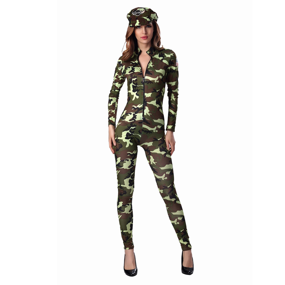 Free Shipping Sexy Long Camouflage Jumpsuit Military Costumes