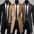 Moda masculina Trench Coat casaco de Inverno Longo Casaco Double Breasted Overcoat Outwear