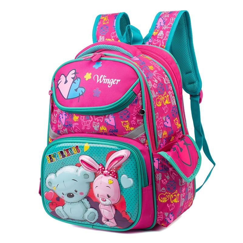 Top-Quality Oxford Children School Backpacks For Girls Orthopedic School Bags Cartoon Bear Primary School Backpack Kids 6-9years