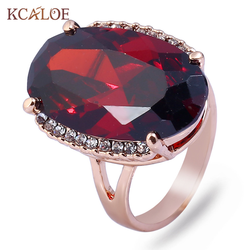 KCALOE Large Oval Red Austrian Crystal Engagement Rings For Women Rose Gold Color Rhinestone Cubic Zirconia Wedding Ring Aneis