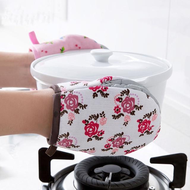 354dbdc29cb 1pc Heat Resistant Cotton Microwave Oven Mitt Glove Floral Pot Holder Oven  Mitts Kitchen Single Potholder Baking Cooking Gloves