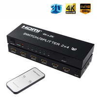 2X4 HDMI Splitter 2 In 4 Out HDMI Switch with SPDIF Audio 3.5mm Support HD 4K 3D 1080P Includes IR Remote Control Power Adapter