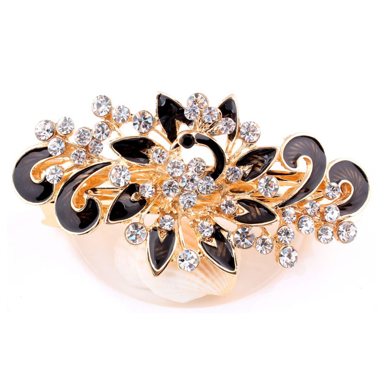 1Pc Fashion Women Hairpins Beauty Shinning Rhinestones Flower Hairpin Hair Clip Crystal Barrette Hair Accessories Girls   Headwear