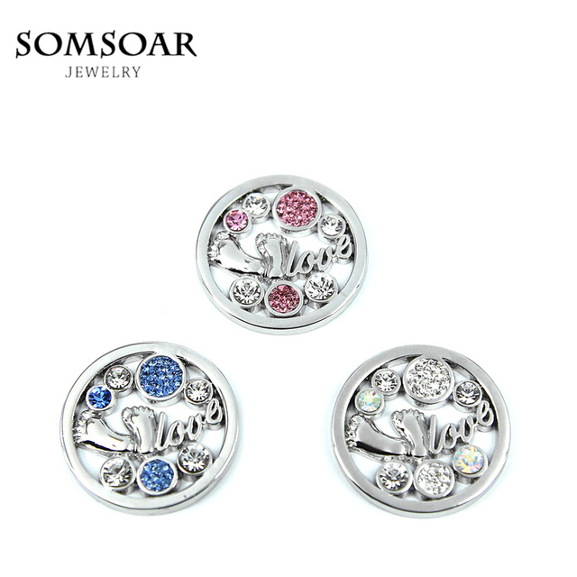Aliexpress buy somsoar jewelry 33mm baby feet crystal disc somsoar jewelry 33mm baby feet crystal disc coin fit my coin holder pendant 10pcslot aloadofball Gallery