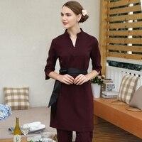 Free Shipping Working Clothing Thai Massage Uniform Sets Female Beauty Club Burgundy SPA Workwear Tea Shop