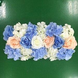 Image 3 - Flor de seda artificial 2 pces 50cm estrada do casamento chumbo hortênsia peônia rosa flor casamento arco quadrado pavilion cantos decoração flores