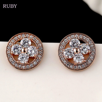 Fashion Cubic Zirconia Earrings New Brand Trendy Rose Gold Round Brass Pendiente Stud Earring Famous Designer Jewelry For Women