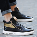 2017 New Men Leather Shoes 2017 Winter High Top Zipper men Shoes Mens Steller Joggers Zapatillas Homme