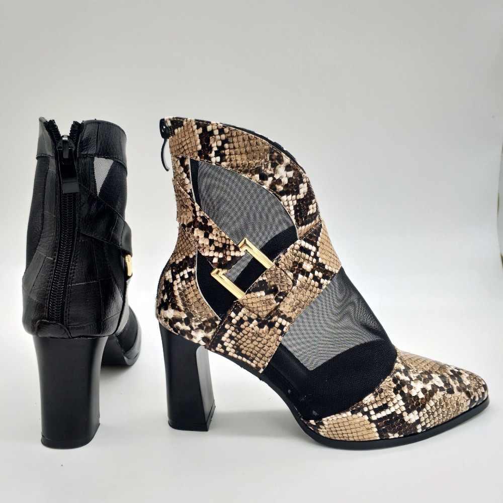 JINJOE women shoes Mesh Ankle Boots High Heel Short sandals