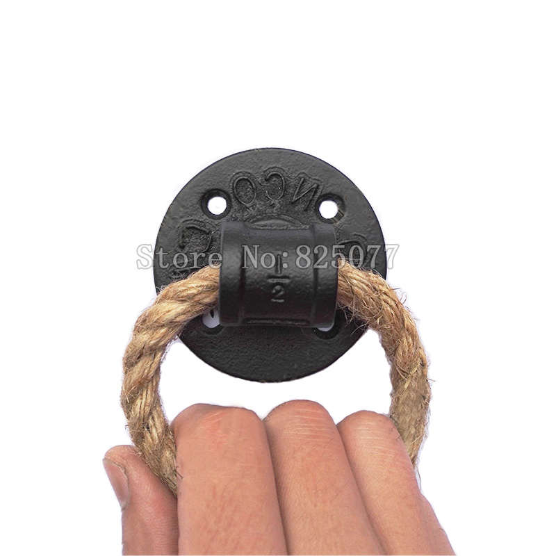 2PCS Rough hemp rope drop rings handle simple pull knob black iron sofas pull handle wooden door knocker unfold install JF1210 entrance door handle solid wood pull handles pa 377 l300mm for entry front wooden doors