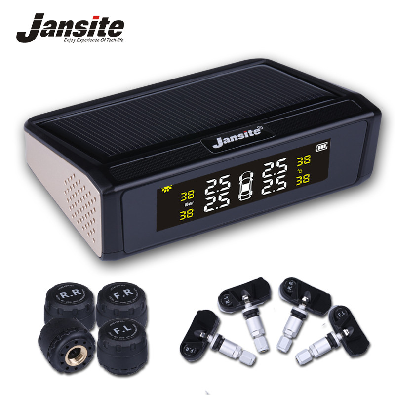 Jansite Solar Powered TPMS Car Tire Pressure Monitor System Wireless 4 External or Internal Sensors Color digital screen jansite car tpms tire pressure monitoring system solar power charging wireless external or internal sensors tire press indicator