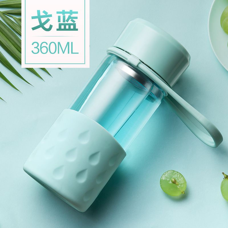 Портативная стеклянная бутылка для воды креативный Чайный фильтр колбы для офиса путешествия кофе сок силикагель рукав стеклянные колбы BPA бесплатно - Цвет: 360 blue bottle