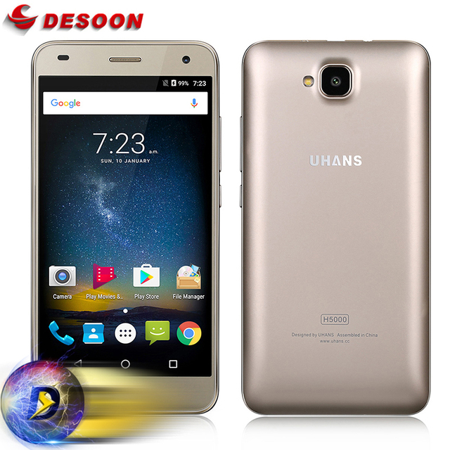 Case+film) UHANS H5000 Mobile phone 4G LTE Smartphone 4500mAh HD MTK6737 Quad Core Android 6.0 3GB RAM 32GB ROM 13MP cellphone