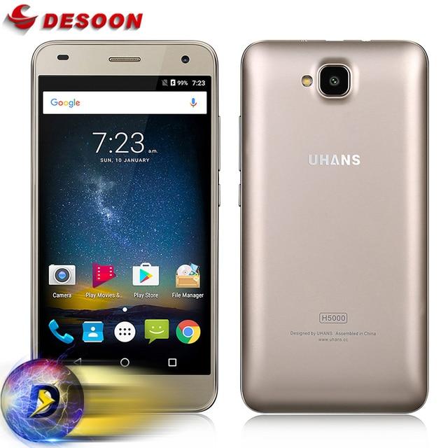 Case+film) UHANS H5000 Mobile phone 4G LTE Smartphone 4500mAh HD MTK6737 Quad Core Android 6.0 3GB RAM 32GB ROM 13MP cellphone