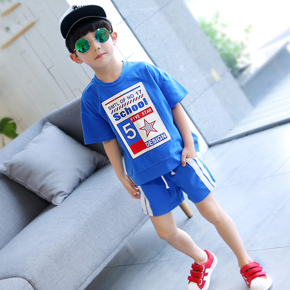 Baby Boy Shorts Set Toddler Boys Summer Clothing T shirt Short Pants Cotton Sports Letter Printed Set Children Suit in Clothing Sets from Mother Kids