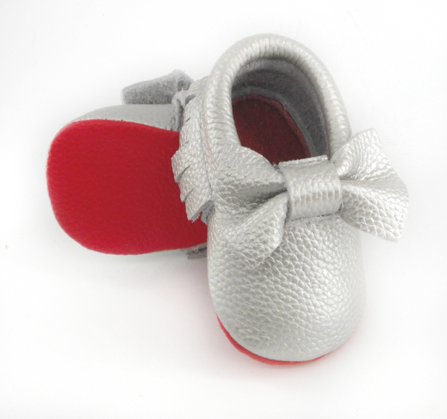 2016 New Genuine Leather First Walkers Soft red sole Baby shoes Toddler Baby moccasins Infant Fringe Bow Shoes
