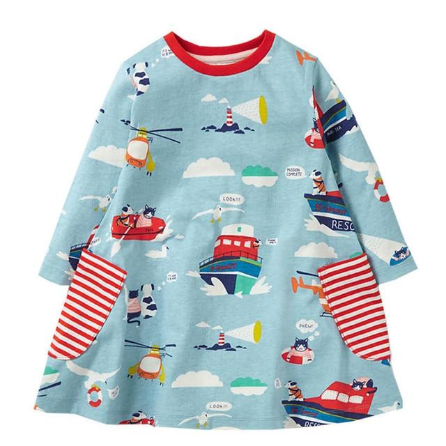 Платья для малышей девочек Костюмы хлопок 2018 брендовые осенние Платье для маленьких девочек Туника трикотажные повседневные платья детская одежда