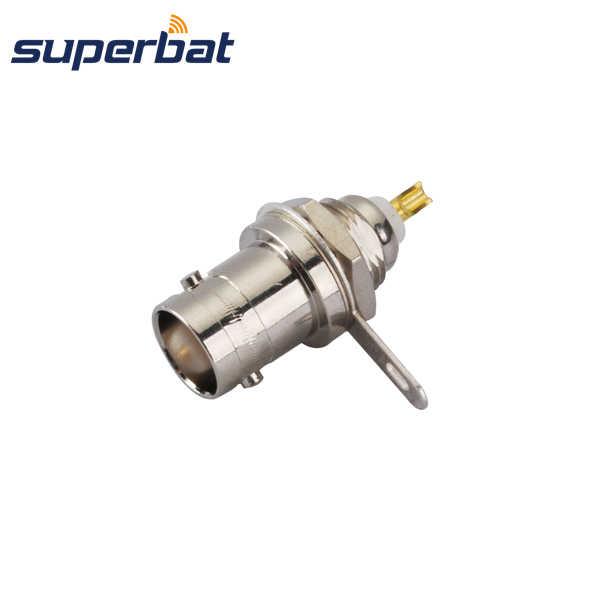 Superbat BNC フロントマウントジャックメスバルクヘッドナットはんだストレート RF 同軸コネクタ