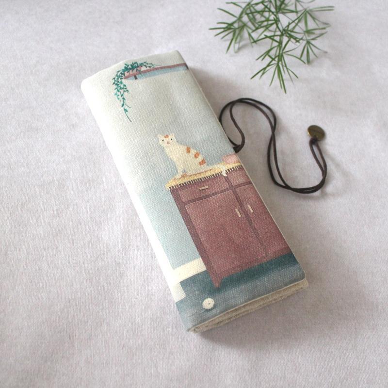 где купить Sen simple canvas large-capacity Japanese-style cute cat pen type pencil case / Literary storage bag Waterproof Waterproof дешево