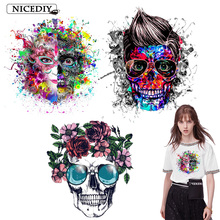 Nicediy Iron On Transfer Patch Skull Vinyl Heat Thermal Patches For Clothes Stripes PVC Ironing Stickers Applique Badge