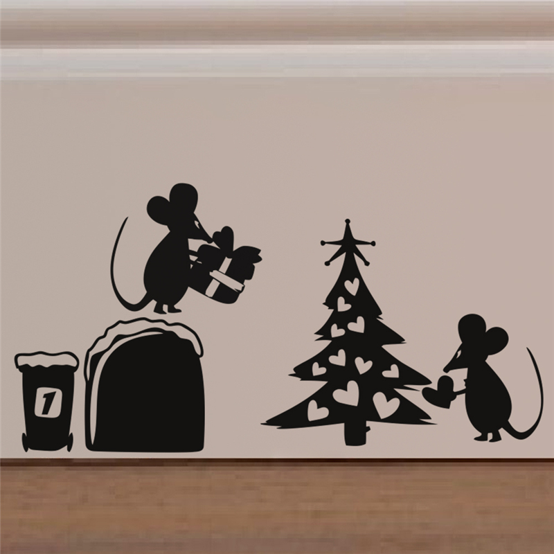 christmas tree gift mouse hole wall stickers room decorations 378 diy vinyl home decal lovely animal mural art in wall stickers from home garden on - Christmas Mouse Decorations