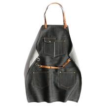 Denim Apron Vintage Design 100% Cotton Adjustable Sheepskin Shoulder Strap Sashes Pockets Work Clothing