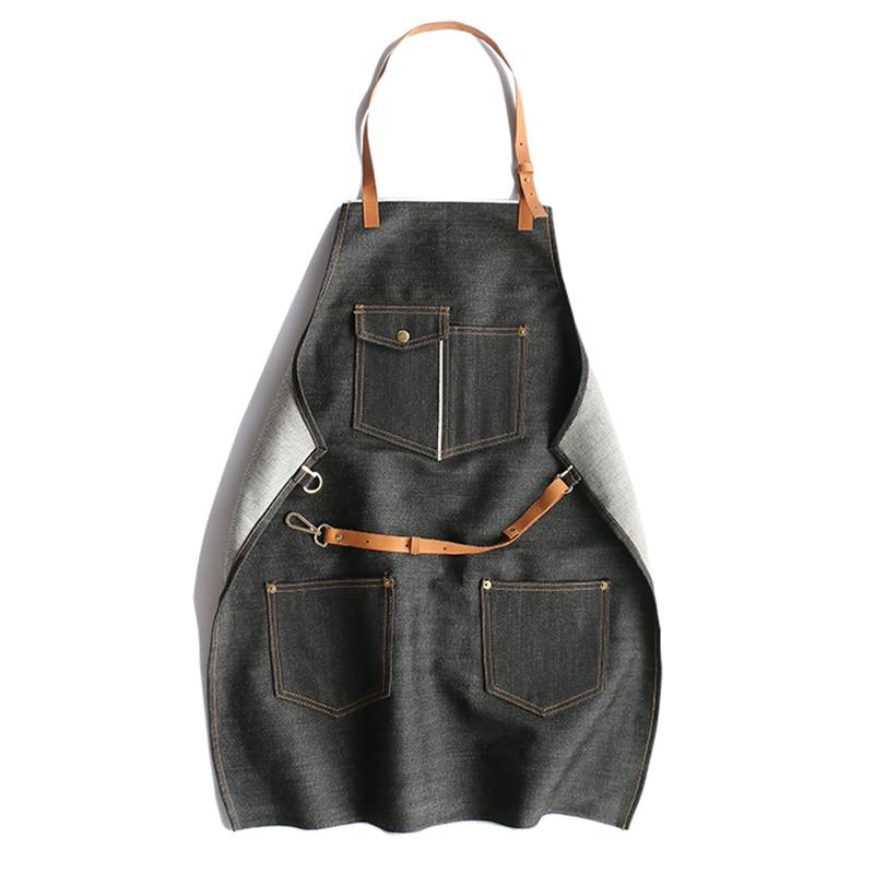 Fartuch denim w stylu Vintage Design 100% bawełna regulowany z owczej skóry pasek na ramię Sashes kieszenie odzież robocza w Suknie od Odzież damska na  Grupa 1