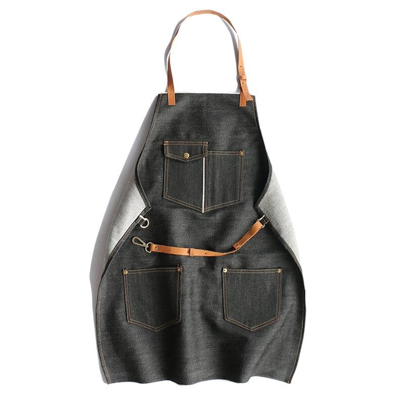 Grembiule Denim Vintage Design 100% Cotone Regolabile pelle di Pecora Tracolla Tasche Dei Telai di Indumenti Da Lavoro-in Abiti da Abbigliamento da donna su  Gruppo 1