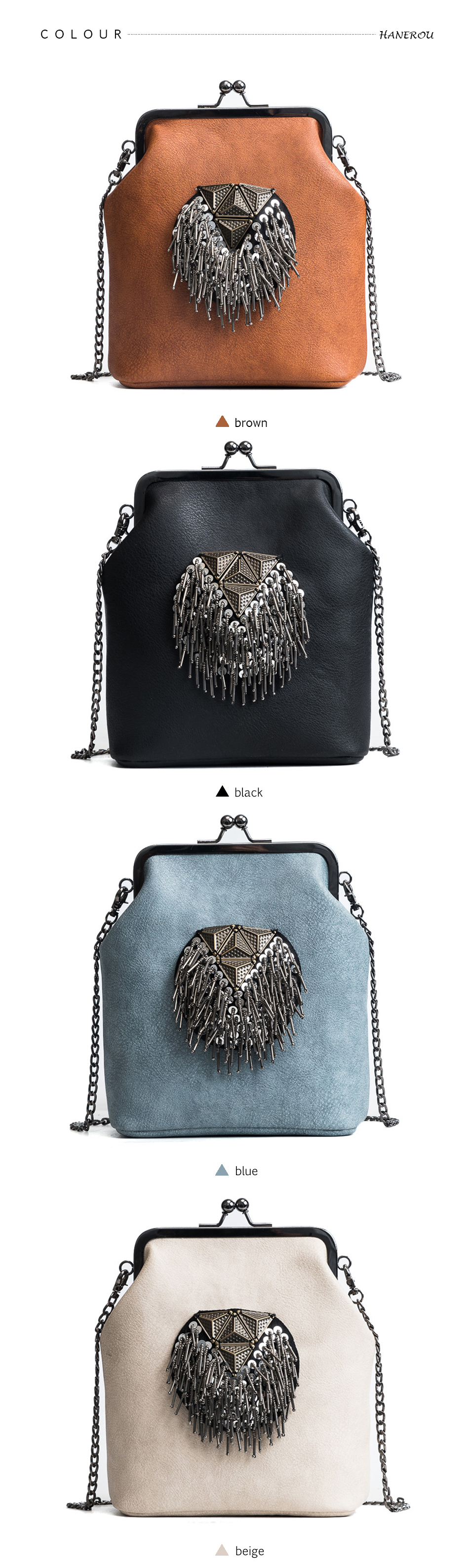 HANEROU Messenger Bags for Women PU Leather Tassel Fashion Frame Bag ... 378c937f042bf