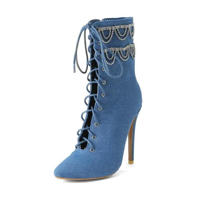 Plus Size 13 Blue Denim Womens Ankle Boots Shoes Pointed Toe Crystal Tassel Lace up Jeans Stiletto High Boots Customized in Ankle Boots from Shoes